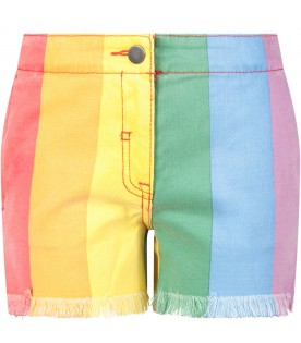 Colorful girl short with stripes