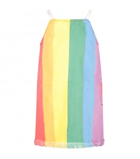 Colorful girl dress with stripes