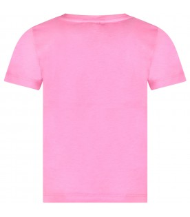 Fucshia girl t-shirt with colorful print