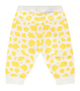 Ivory babyboy pants with yellow prints