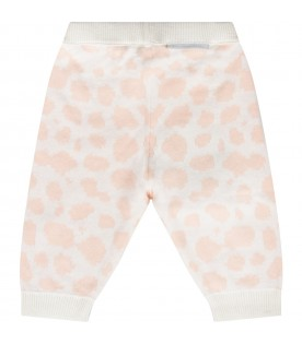 Ivory babygirl pants with pink prints