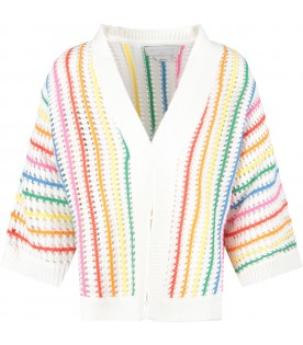 White girl cardigan with stripes