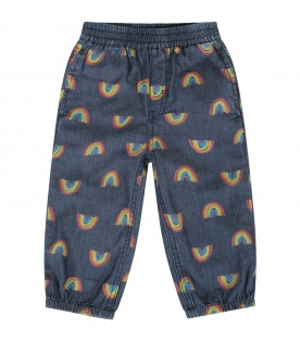 Denim blue babygirl pants with colorful rainbow