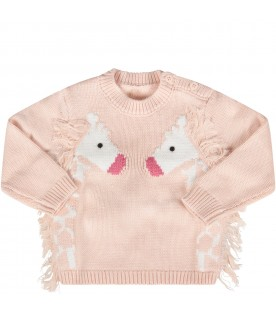 Pink babygirl sweater with giraffes