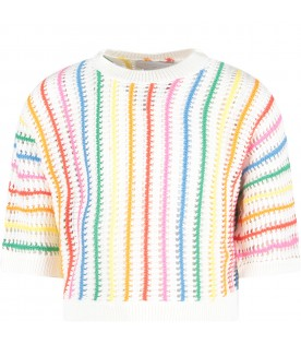White girl sweater with stripes