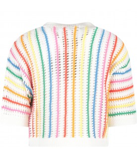 White sweater with stripes for girl