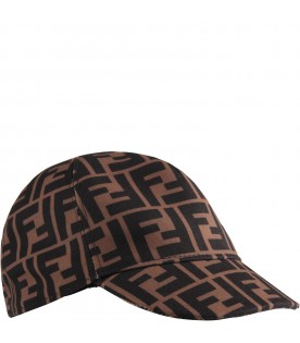 Brown kids hat with double FF