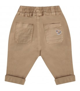 Beige babyboy pants with zebra