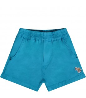 Light blue babyboy short with zebra