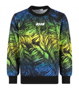 Multicolor boy sweatshirt with palm trees and logo
