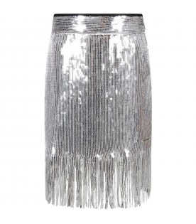Silver skirt with sequins for girl
