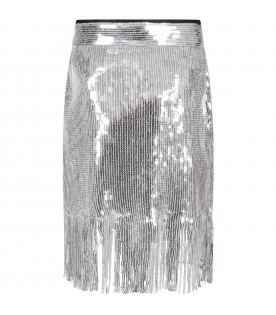 Silver girl skirt with sequins