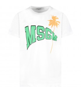 White kids T-shirt with logo and palm tree