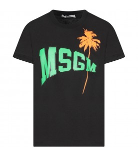 Black T-shirt with logo and palm tree for kid