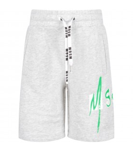 Grey kids short with double logo