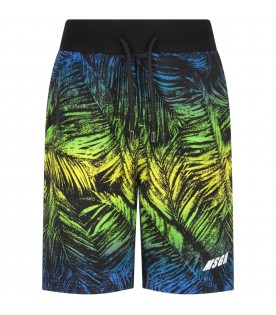 Multicolor short with palm tree and logo for boy
