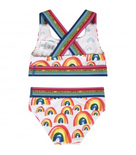 White girl bikini with colorful rainbows