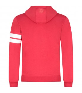 Red kids sweatshirt with white logo