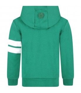 Green kids sweatshirt with white logo
