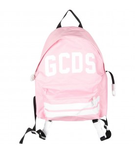 Pink girl backpack with white logo