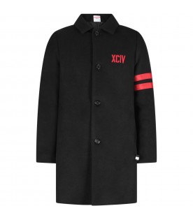 Black coat for boy with logo