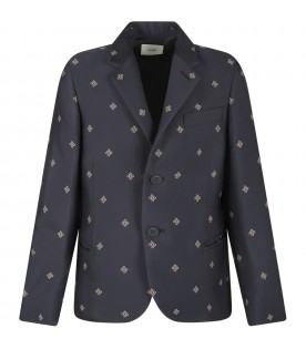 Blue boy jacket with ivory double FF