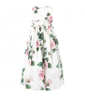 White girl dress with pink roses and logo