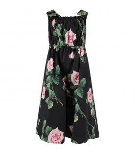 Black girl jumpsuit with pink roses and logo