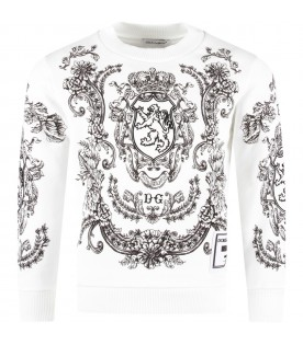 White boy sweatshirt with black lion and logo
