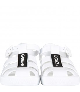 White kids sandals with logo