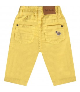 Yellow babyboy jeans with zebra