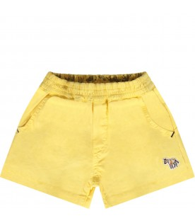 Short giallo per neonato con iconico patch