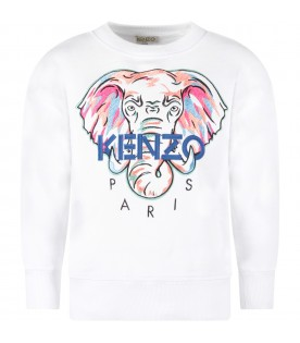 White girl sweatshirt with colorful elephant