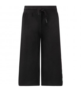 Black pants with colorful logo for girl