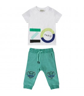 White and green babyboy suit with logo