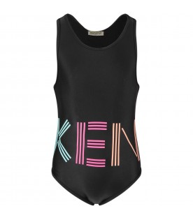 Black girl swimsuit with logo