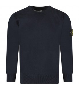 Blue boy sweater with iconic patch