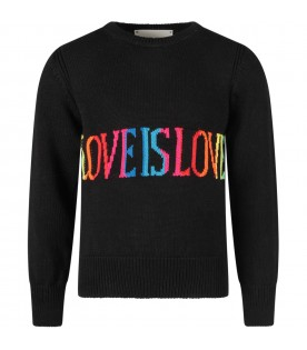 Black girl sweater with colorful ''Love is love'' writing