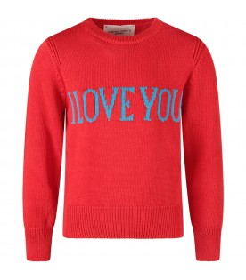 Red sweater with turquoise ''I love you'' writing for girl