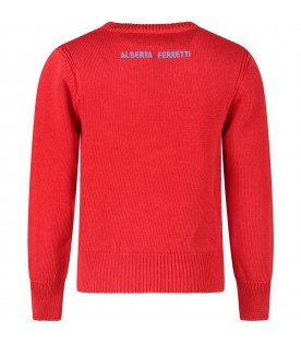 Red girl sweater with turquoise ''I love you'' writing