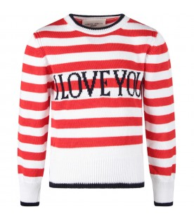 Red and white sweater with blue ''I love you'' writing for kid