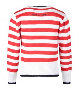Red and white girl sweater with blue ''I love you'' writing
