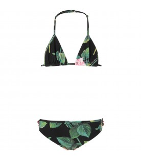 Black girl bikini with pink iconic roses