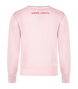 Pink girl sweater with red ''Je t'aime'' writing