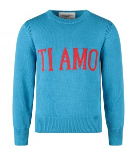 Turquoise girl sweater with red ''Ti amo'' writing