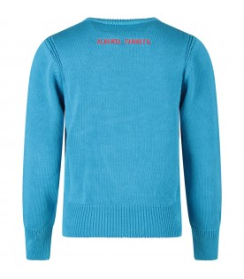 Turquoise sweater with red ''Ti amo'' writing for kid