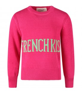 Fuchsia girl sweater with green ''French kiss'' writing