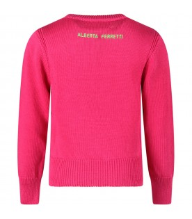 Fuchsia sweater with green ''French kiss'' writing for girl