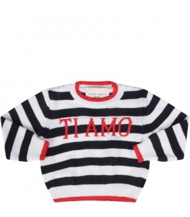 Blue and white babygirl sweater with red ''Ti amo'' writing