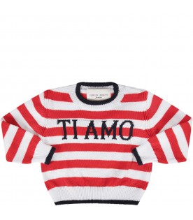 Red and white sweater with blue ''I love you'' writing for baby girl